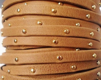 """Pre Cut, No Joins,  10"""" 5mm Flat Arizona Camel Brown with Gold Tacks Soft Leather Cord, Jewelry finding, supply, craft, Studded strap"""