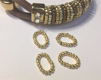 Thin Beaded Rings, Single Strand  Slider, Gold Handmade Beaded Sliders, leather finding, Jewelry supplies, leather braclet