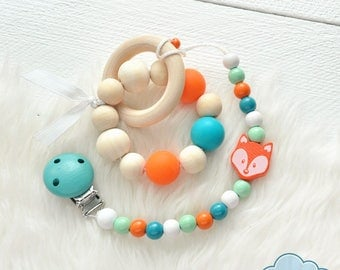 SET Pacifier Clip + Silicone Wood Teether Ring