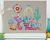 Cactus Cat - Satsuma Street - modern cross stitch pattern - Instant download PDF