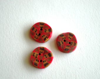 Set of 3 buttons fimo red and Brown 20 mm