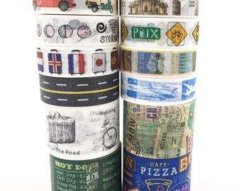 12 rolls(SET) Travel Journey Design Washi tape Suitcase Gourmet Airpost Mark plain Washi Tape