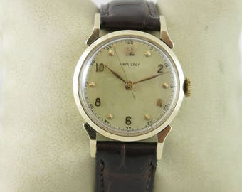 1948 Hamilton Secometer C Wrist Watch - solid 14K gold