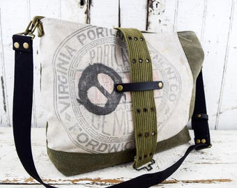 VINTAGE Repurposed Tote Bag Portland Cement Co with Military Textiles