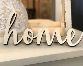 Home Laser Cut Wood Word, Wood Sign, Dining Room Decor, Farmhouse Decor, Home Decor