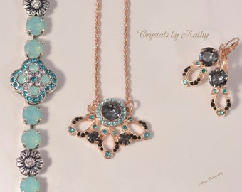 Swarovski Crystal jewelry Lacy Lady Pendant, earrings and Celtic Bracelet Pacific Opal