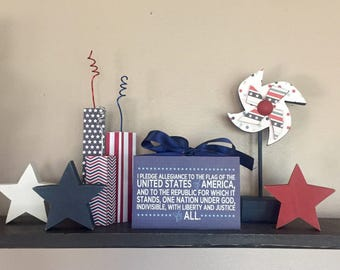 Pledge of Allegiance - Independence Day, Fourth of July, 4th of July (White) 4x6 Wood Block