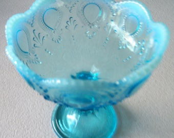 Blue Opalescent Art Glass Footed Compote
