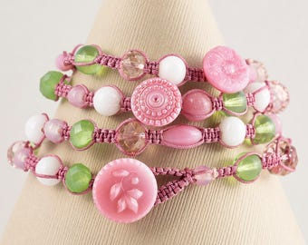 4 -Strand Macrame Wrapped Bracelet- (Pink Chez Glass Button- Pink Crystal Beads- White, Green & Pink Glass Beads)