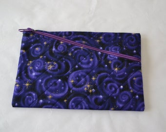 Purple Galaxies Quilted Zippered Clutch