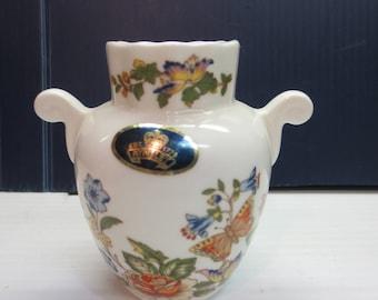 """Aynsley Urn Vase """"Cottage Garden"""" English Fine Bone China Butterflies Flower"""