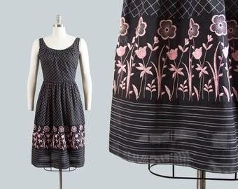 Vintage 1960s Dress | 60s Floral Embroidered Border Print Cotton Sundress Plaid Black Full Skirt Day Dress (small)