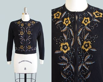 Vintage 1950s Cardigan | 50s Floral Beaded Knit Wool Angora Black Cropped Sweater Top (medium/large)