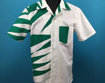 Retro cotton Kimono Hawaiian shirt, yukata fabric, Men, US size M