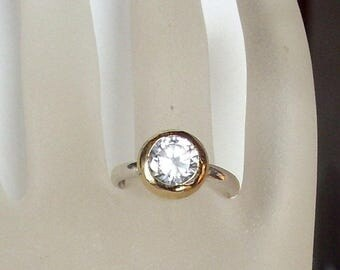 Sparkling  CZ Zirconia Ring  - Birthstone - Promise ring - bezel set - Diamond - engagement ring - stacking ring - vermeil - Silver
