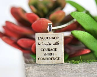 Encourage Courage Inspirational Scrabble Tile Necklace, Gifts for Her, Motivational Charm, Unique Gifts, Upcycled Jewelry, Girl Power Strong