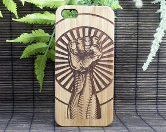 Raised Fist iPhone 8 Case. Revolution Hand Unity Salute. Strength Defiance Resistance. Counterculture Hipster Punk Fight Bamboo Wood Cover