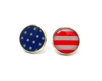 AMERICAN FLAG STUDS - Red White and Blue - Fourth of July - Independence Day themed - earrings on 11mm or 13mm - Patriotic