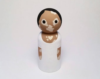 Vitiligo wooden peg doll