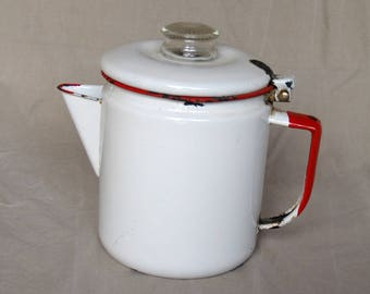 Vintage Enamelware Coffee Percolator Red and White
