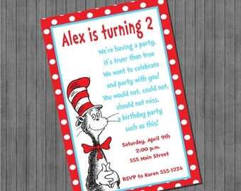ON SALE Dr. Seuss Cat in the Hat Invitations