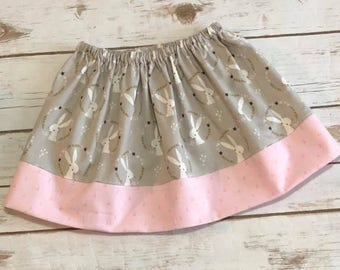 Girls Oh Deer Bunny Skirt - Spring Summer Skirt - 100% Cotton Skirt -  3T - Gray & Pink Skirt - Easter Skirt