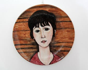 Vintage painting on a ceramic plate // Female portrait art plate // Imola hand painted ceramic wall art