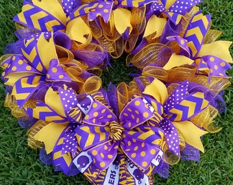 Purple Gold Polka Dot Chevron Tigers Wreath with add on options