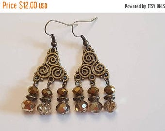 15%OFF Gold and Metallic Gold Antique Gold Chandelier Earrings