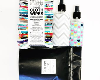 COMPLETE CLOTH WIPING kit with 40 wipes, 8 oz. spray bottle, 4 oz. spray bottle & cloth wipe bits. You choose prints