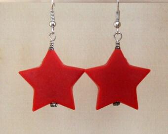 Red Star Earrings , Red Earrings, Christmas Earrings