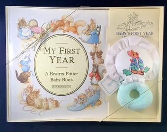 BEATRIX POTTER BABY Gift Set Baby Book and Rattle 1990 F. Warne & Co. Baby Shower Gift