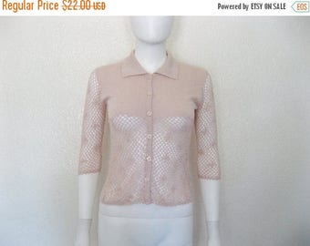ON SALE 90s Light Pink Crochet Knit button down Top / semi sheer see through clothing