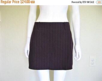 25% off SALE Dark Purple Pin Striped 90s mini Skirt