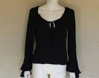 25% off SALE Black bell sleeve keyhole long sleeve blouse