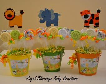 safari baby shower centerpiece washcloth lollipop favors baby boy baby girl or