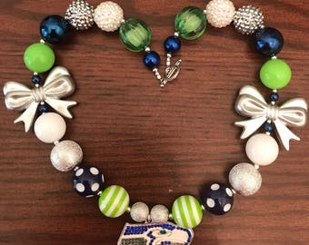 Seattle Seahawks Football NFL inspired Bubble Gum Necklace - Two Styles (Adult/Teen).