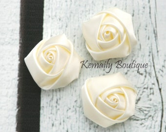 3 Pack Ivory Satin Rosette Flower, Fabric Flower, Craft Supplies, DIY Flower, DIY supplies, Embellishment