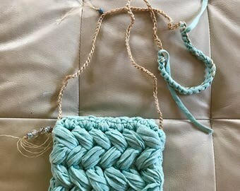Cute mint crochet cotton mini bag.