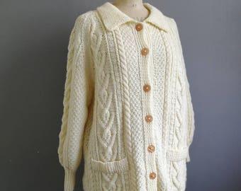 Oversized cream cardigan // boho hand knitted wool cardigan // cable fishermans caridigan // vinatge large cardigan // aran knit cardigan