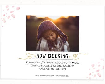 Fall Mini Session Template for Photoshop, Photography Marketing Template, Minimalist Template for Photographer, Template Session Board, m136