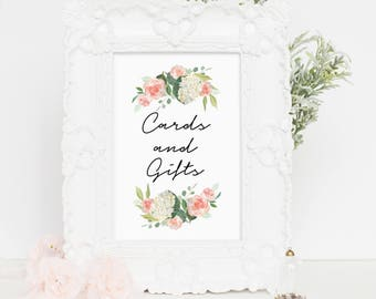 Wedding Sign Cards and Gifts Wedding Sign Printable, Gifts Table Signage, Stationary Wedding Signs, Cards Wedding Sign, 4x6, 5x7, 8x10, wp04