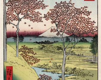 "Utagawa Ando Hiroshige : ""Sunset Hill, Meguro in the Eastern Capital"" (Thirty-six Views of Mount Fuji, 1858) - Giclee Fine Art Print"