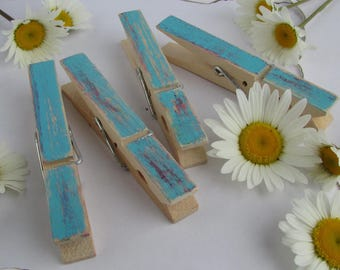 Blue Barn Wood Clothespins, Decorated Clothespins, Distressed Clothespins, Americana Decor, Blue Barn Decor, Blue Photo Hanger, Blue Barn