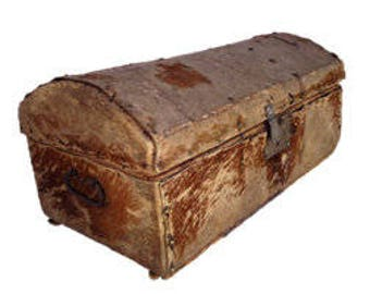 Early 1800's Hide Covered Trunk