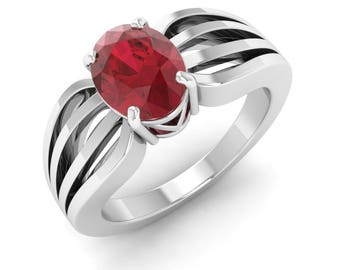 Oval Solitaire Engagement Ring   AAA Ruby Solitaire Ring   1.36 Carat Gold Ring   White Gold, Rose Gold   Gift For Women   Natural Ruby Ring
