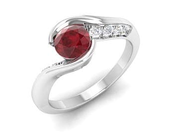 Ruby Engagement Ring, 14K White Gold Ring, Anniversary Ring, Wedding Ring, Stunning Ring, Unique Ring, Ruby Gold Ring, Women Gold Jewelry
