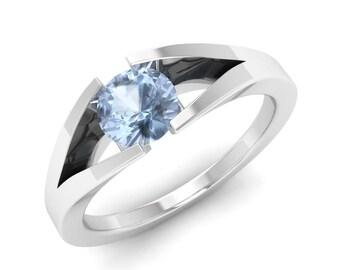 Aquamarine Engagement Ring, 14K White Gold, Anniversary Ring, Wedding Ring, Solitaire Engagement Ring, Promise Ring, Aquamarine Ring