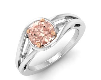 Morganite Engagement Ring Rose Gold/White Gold, Morganite 14K Yellow Gold Ring, Solitaire Engagement Ring,Anniversary Ring,Gold Wedding Ring