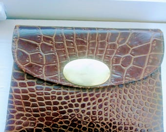 Small Vintage Croc/Gator Leather Clutch Purse